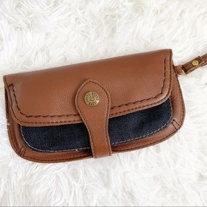 LUCKY BRAND Leather and Denim Wristlet Wallet
